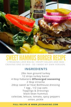 Burgers & Booze: two recipes you need this summer! Healthy Burger Recipes, Hummus, Ol, Cravings, Salads, Sandwiches, Ethnic Recipes, Sweet, Candy