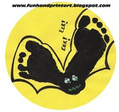 Handprint and Footprint Arts & Crafts: Halloween Footprint Bat