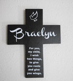 Cross Personalized Custom Name Black and White  Pine Wood  w/ Dove (Roots & Wings) Baptism Gift Boy Girl