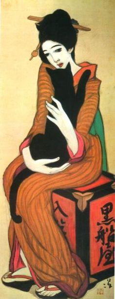 """かんざしねここんなのも - You Channel - 楽天ブログ(Blog)  竹久夢二 『黒船屋』      Takehisa Yumeji 1919  """"Hairpin and cats"""""""