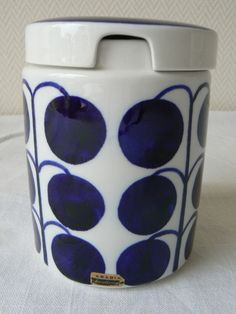 Arabia pottery ceramic storage pot Esteri Tomula very rare Pomona Finland 1950s by LittleMissNordic on Etsy https://www.etsy.com/listing/226782444/arabia-pottery-ceramic-storage-pot