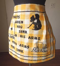 Vintage 50's Apron, Funny and Kitschy Graphics, Half Apron, Yellow and White Gingham. $35.00, via Etsy.