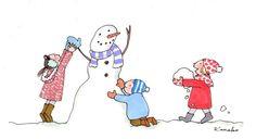 Cute Illustrations   Kanako Kuno   My Little Paris   Snow man   Winter   Kiddos