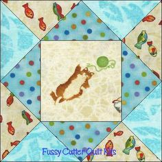 Cat Party Kitty Kitten Red Rooster Fabric Easy Pre-Cut Quilt Blocks Top Kit