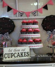let them eat CUPCAKES Self Standing Table Sign Shabby Vintage Wedding Signs  4 3/4 x 12. $21.95, via Etsy.