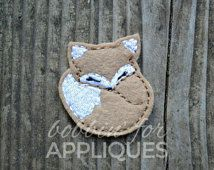 Sleeping Fox Feltie Embroidery Design File