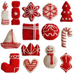 free knitting patterns for a set of two tone christmas decorations and many other patterns Knitted Christmas Decorations, Christmas Tree Ornaments, Christmas Stockings, Christmas Knitting Patterns, Knitting Patterns Free, Free Knitting, Free Pattern, Pattern Ideas, Christmas Makes