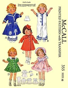 McCall 355, for 16 inch popular movie dolls, such as shirley temple. All wardrobes included. PDF Vintage Doll Sewing Pattern - buggsbooks.com