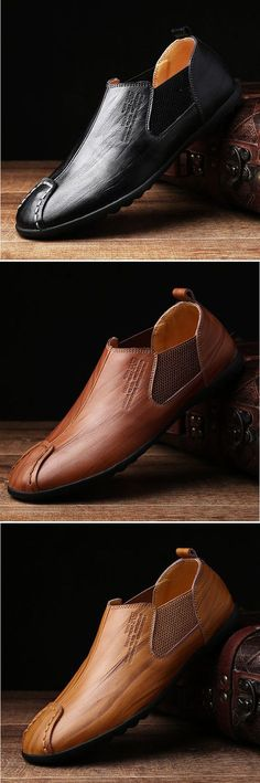 Men Stitching Elastic Panels British Style Flat Low-top Casual Shoes