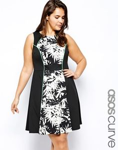 ASOS CURVE Exclusive Skater Dress In Scuba In Mono Floral Print
