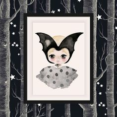 This magical Bat Girl watercolour art print for Kids. Available now in multiple sizes its a great feature wall artwork for a girls nursery and bedroom. Available in multiple sizes. Great for kids black and white and modern decor. Made in Australia and shipped worldwide. Discover this print and more at https://www.violeteyes.com.au/products/bat-girl