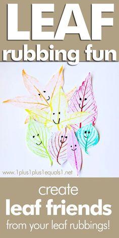 Fall Leaf Craft ~ Leaf Friends made from leaf rubbings