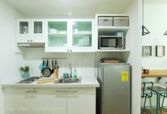 Travel-Inspired Unit for a Young Family of 3 Small Studio Apartment Design, Condo Interior Design, Condo Design, Studio Apartment Decorating, Kitchen Interior, Studio Condo, Studio Living, Apartment Renovation, Apartment Layout