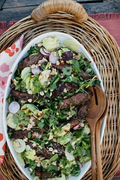 This recipe is from healthy Girls' Grilling Party... steak salad with radishes, cucumber and spicy ginger dressing