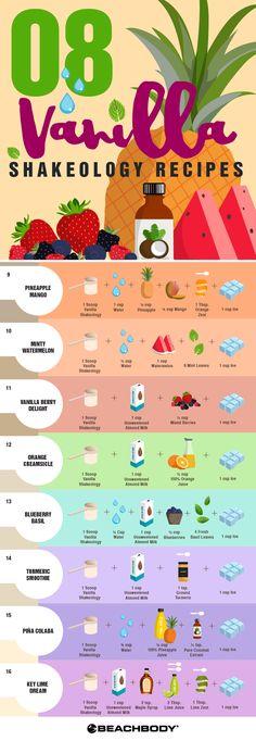 8 Easy Vanilla Shakeology Recipes - Healthy Eating İdeas For Exercise Shakeology Shakes, Beachbody Shakeology, Vanilla Shakeology, Beachbody Blog, 310 Shake Recipes, Protein Shake Recipes, Protein Shakes, Best Shakeology Recipes, Thrive Shake Recipes