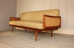 Original Cane Teak Danish Sofa by Peter Hvidt & Olga Molgaard Nielsen John Stuart Mid Century Modern 50's 60's Mad Men on Etsy, $2,895.00