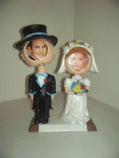 Bride Groom Bobble head picture photo frame wedding shower gift