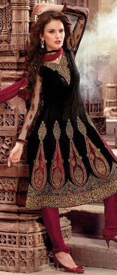 #Black Net Flared Churidar Kameez. have to go get one for India next week!! so excited!