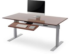 The Rated Adjustable Height Desk. It's the original power adjustable desk with 27 Awards. Guest Room Office, Home Office Decor, Office Desk, Best Standing Desk, Standing Desks, Computer Desk Design, Computer Desks, Minimalist Desk, Sit Stand Desk