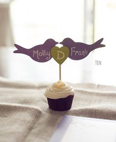 50 best bird wedding ideas: #10 bird wedding cupcake toppers (by pnz designs) via Emmaline Bride