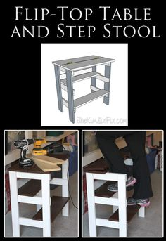 Build a SUPER EASY step stool integrated work bench. Where the table top flips open and the shelves become stairs! Diy Furniture Plans, Repurposed Furniture, Painted Furniture, Home Furniture, Plywood Furniture, Modern Furniture, Furniture Design, Diy Wood Projects, Diy Projects To Try