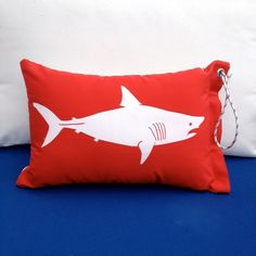 nautical kids room | Nautical Nursery/Kids Room / Shark Pillow/Bag Catch Flag in Red, White ...