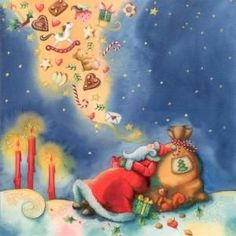 GOLLONG Santa Claus dreams of gifts - Nina Chen postcard