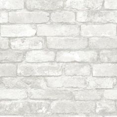 WallPOPs, 30.75 sq. ft. Grey and White Brick Peel and Stick Wallpaper, NU1653 at The Home Depot - Mobile