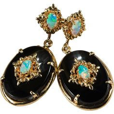 Incredible Onyx Opal Drop Earrings  ~  These classic Circa 1950 beauties have large black onyx drops with   intricate gold filigree inserts that hold