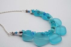 Teal Frosted Sea Glass Necklace with Blue by Willows3Creations
