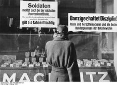 Danzig shop window signs 1945: (left sign) Soldiers, report to the nearest army base. Anyone who travels with civilian convoys or loiters in private quarters is considered a deserter. (right sign) People of Danzig, stay disciplined! Panic and rumor-mongering are the best allies of the Bolsheviks!