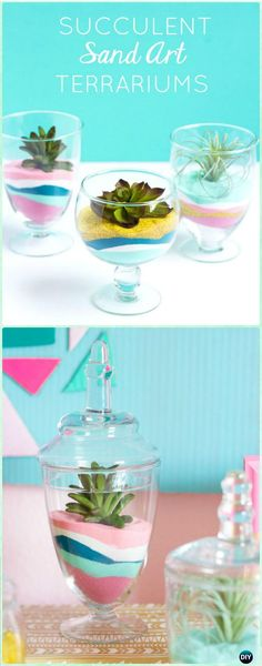 DIY Succulent Sand Art Terrariums Instruction - DIY Sand Art Terririum Ideas Projects & Tutorials