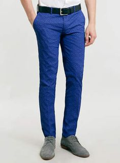 "TOPMAN Cobalt Patterned Ultra Skinny Trousers Another royal blue pants option for Gar, slightly more ""casual"" (which is fine, imo)."