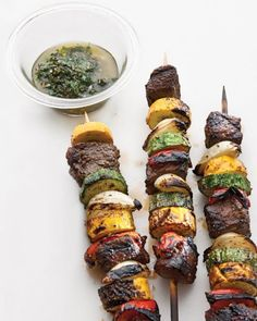 Sirloin and Summer-Vegetable Kebabs with Chimichurri Recipe | Cooking | How To | Martha Stewart Recipes