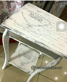 Refinish old yellow night stand with decoupage Decoupage Furniture, Furniture Logo, Diy Furniture Projects, Recycled Furniture, Shabby Chic Furniture, Furniture Makeover, Painted Furniture, Kids Furniture, Furniture Dolly