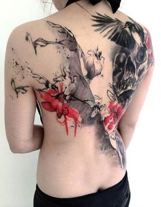 Birds and Flowers Trash Polka tattoo on Back