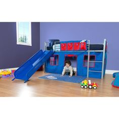 This unique children's loft bed is ideal when space is at a premium. The extra space below the Boys' Loft Bed can be used for playtime or a quiet spot for hanging out.Boys Twin Loft Bed with Slide:Includes fun slide and curtain setArrives in 2 boxesDesigned for use without a box springBunky board not required, but recommended for softer mattressesGuardrails includedLadder can be installed in one locationIncludes metal bed slatsBed accommodates a twin mattressMattress and accessories sold…