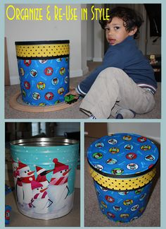 Great idea for the popcorn tin in the garage I have been trying to think of a use for.  Mod Podge a popcorn tin for toy storage.