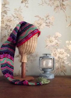 Vintage icelandic knits / womens hats /  nordic  knitwear / tassel hat  / long  / Dolly Topsy Etsy.