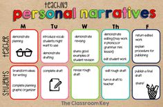 A schedule for teaching personal narrative writing, what the teacher does and what the students do Bullet Journal, Office Supplies, Notebook, Desk Supplies, The Notebook