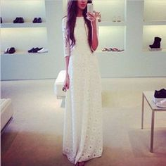 White Elegant Floral Lace Women Maxi Dress - Daisy Dress For Less - 1