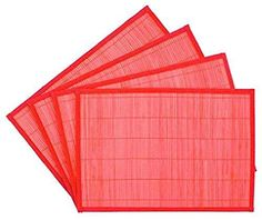 BAMBOO PLACEMATS SET OF 4 Red with Red Border New ** Check out this great product.