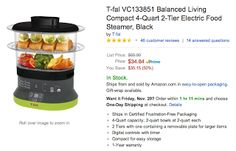 Get T-fal Balanced Living Compact 4-Quart 2-Tier Electric Food Steamer for Less!