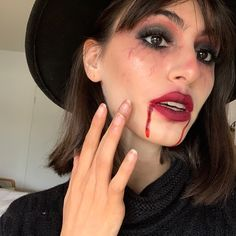 Vampire halloween makeup #halloween #makeup #look #halloweenlook #vampire Halloween Makeup Looks, Lantern, Pumpkin, Pumpkins, Hurricane Glass, Squash, Halloween Makeup, Lanterns