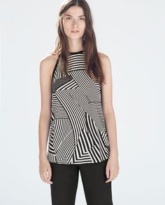 Zara Printed Top with Contrast Piping 69.90