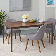 CONCRETE DINING TABLE SCANDI TEAK LEG X GREY Home - West elm box frame dining table review