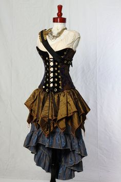 Blue and Gold Medallion Buccaneer Corset by Damsel in this Dress