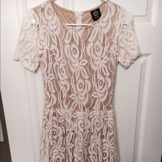 Cream and Tan Lace Dress size Small So cute ! This cream dress hits about the knees and Is perfect for spring! Bobeau brand- made in the USA. Worn once to a wedding. No flaws!! bobeau Dresses Midi