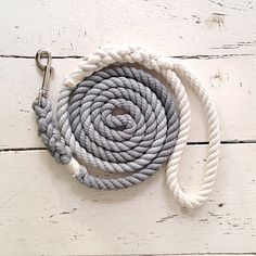 Grey Ombre Dog Leash Hand Dyed Dog Leash Gradient Dyed by SixTails