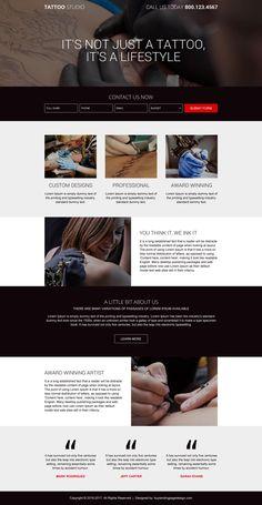 tattoo design studio lead generating landing page design